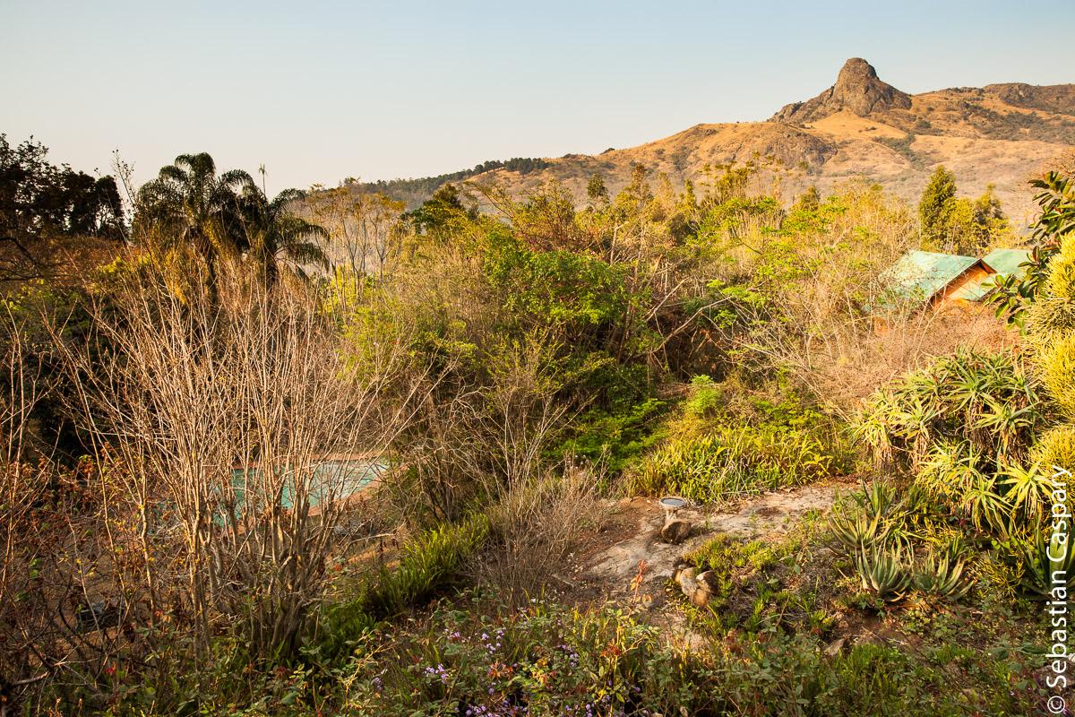 Blick von der Restaurant-Terrasse unseres Hotels in Swasiland.